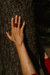 ręce na drzewie